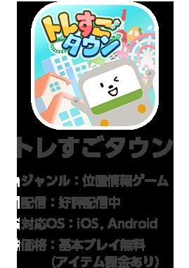 トレすごタウン ジャンル:位置情報ゲーム 配信:好評配信中 対応OS:iOS、Android 価格:基本プレイ無料(アイテム課金あり)